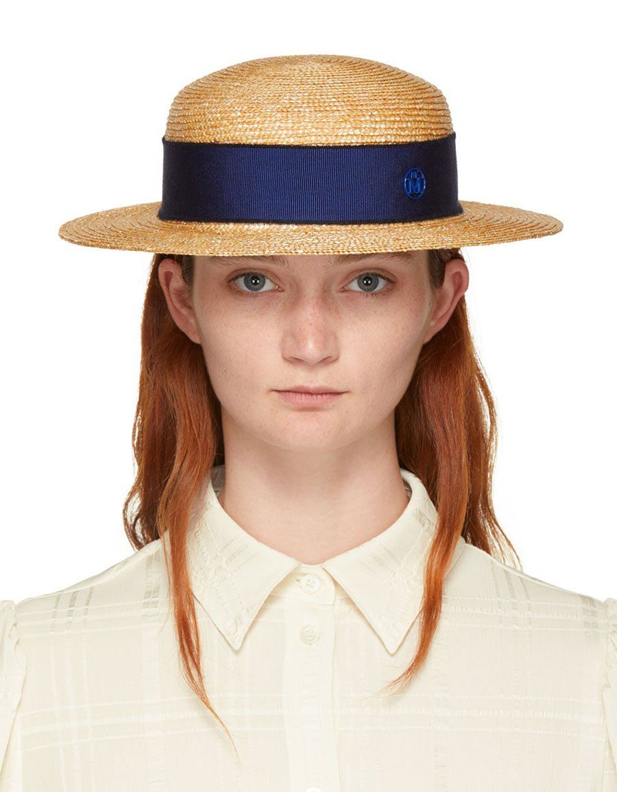 cb8812c1ab9 MAISON MICHEL Tan Straw Rod Hat · VERGLE