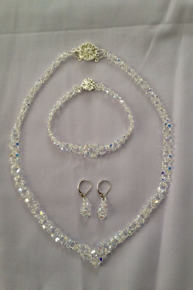 V-Necklace, bracelet and earrings. Swarovski crystals in graduated sizes. Designed and Handcrafted by Pam Keith.