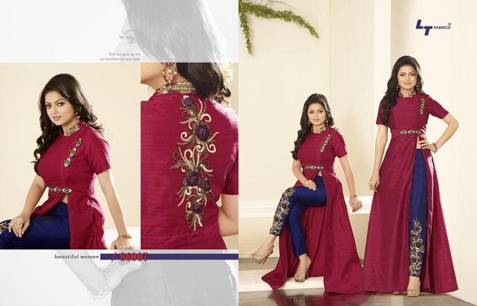 Adorable Blue Magenta Pure Silk Indo Western Suit1317 | Products ...