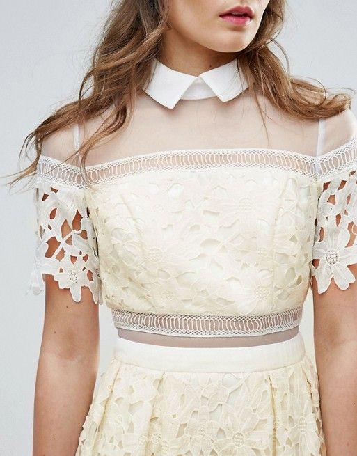 c88e0f256c125 Chi Chi London Premium Lace Paneled Dress With Contrast Collar ...