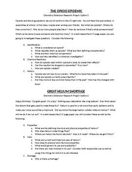 topics for chemistry research paper