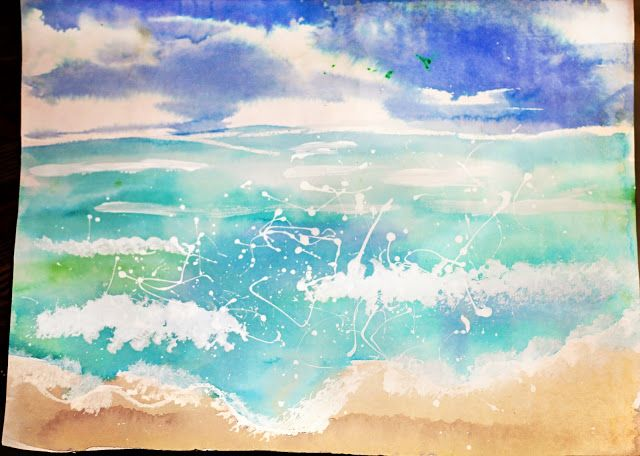Seascapes With Watercolors White Tempera Paint And Salt Art