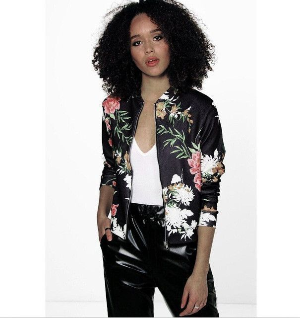 Adogirl Floral print Streetwear For Women Jackets 2017 Autumn Spring Long  Sleeve Jacket Coat Womens Casual Short Top Basic Parka 0a9357c71a62