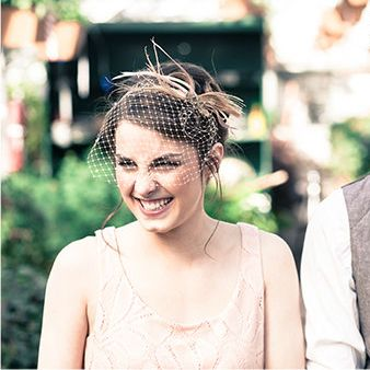 Blush & Champagne Birdcage Veil with Crystals and Feathers - MyWedStyle.com