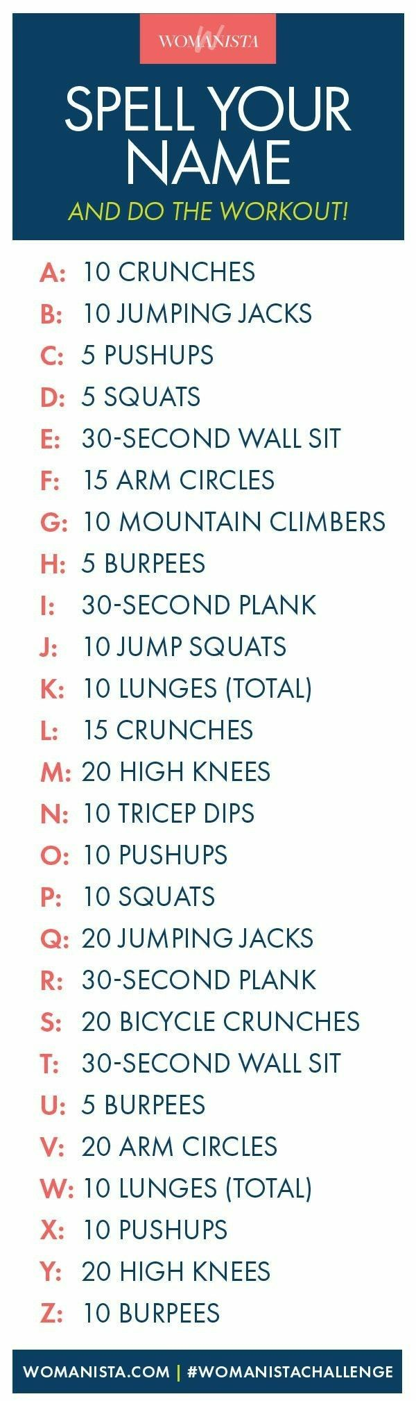 Spell Your First Middle And Last Name Health Fitness At Home Workouts Fitness Body