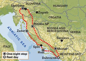 Tour Map Image Slovenia Ljubljana Zagreb Croatia Slovenia