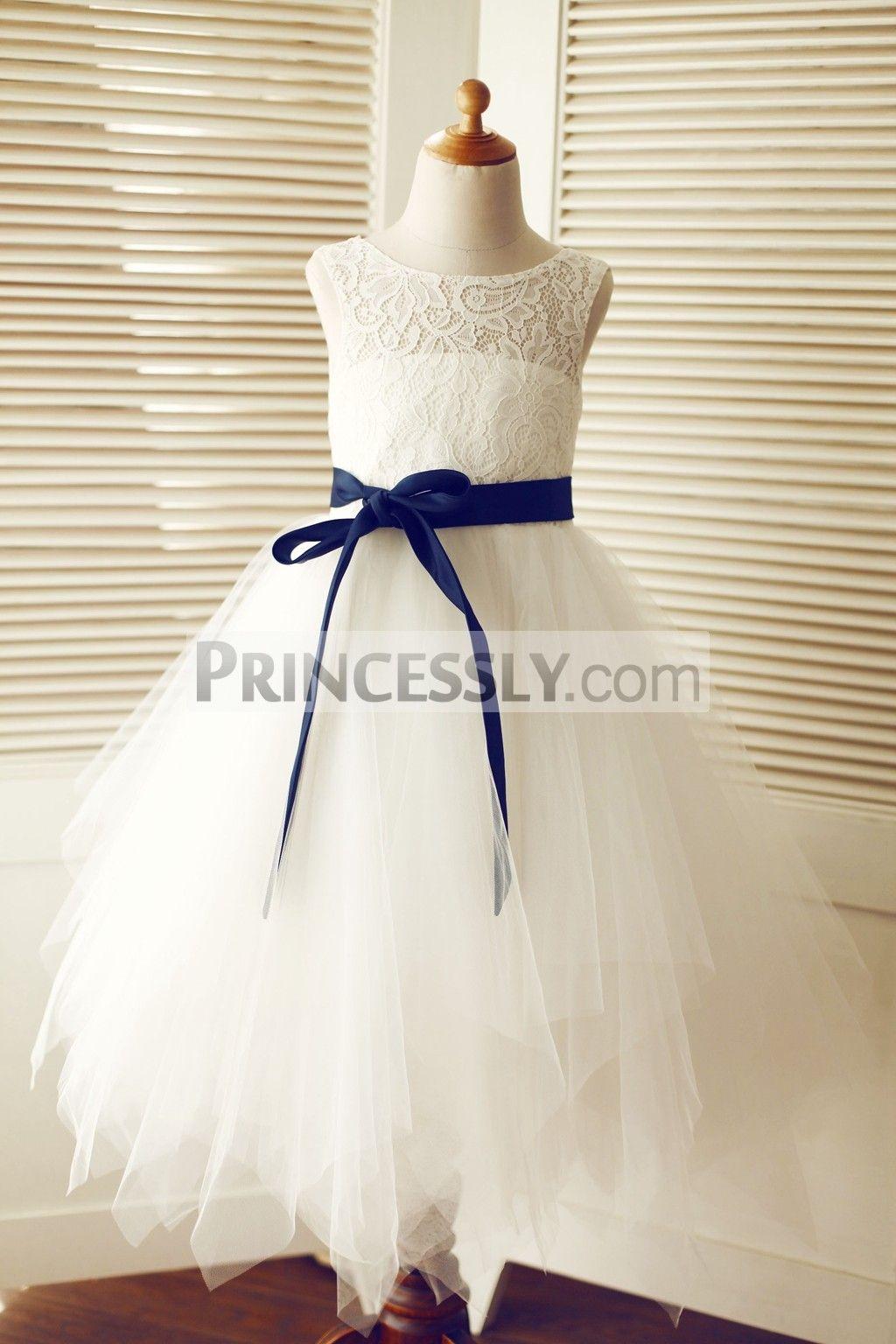 Keyhole ivory lace tulle wedding flower girl dressnavy blue sash keyhole ivory lace tulle wedding flower girl dressnavy blue sash izmirmasajfo Gallery