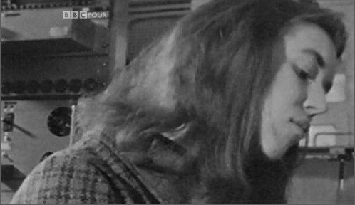 Delia Derbyshire close up with long hair