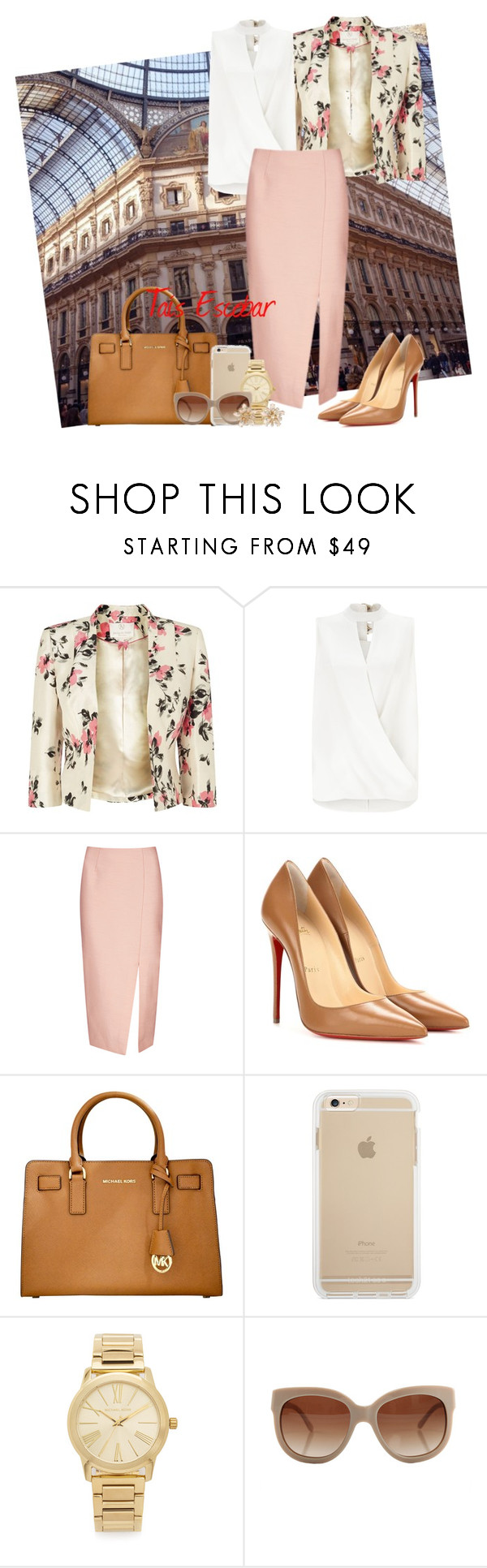 """""""Monday & Flowers on town """" by tais-escobar ❤ liked on Polyvore featuring Jacques Vert, Miss Selfridge, C/MEO COLLECTIVE, Christian Louboutin, Michael Kors and STELLA McCARTNEY"""