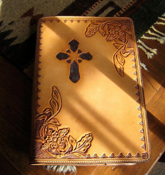 Custom hand-tooled Leather Bible Cover by NTexasLeatherwork