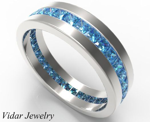 2 carat natural fancy blue diamond wedding band