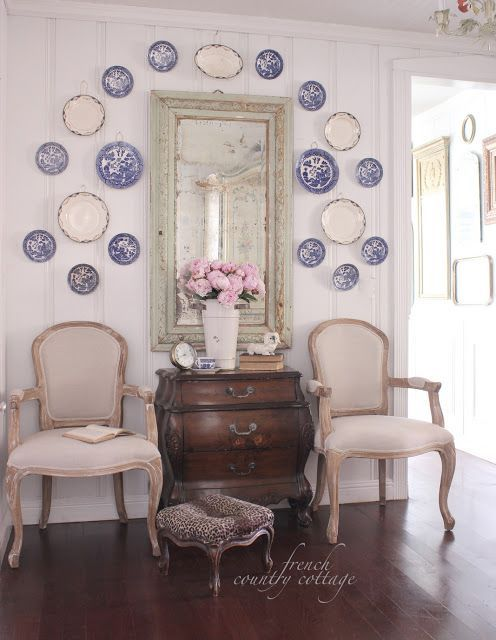A little French Country Decorating with vintage transferware plates. Love the blue and white & Family Room Designs Furniture and Decorating Ideas http://home ...