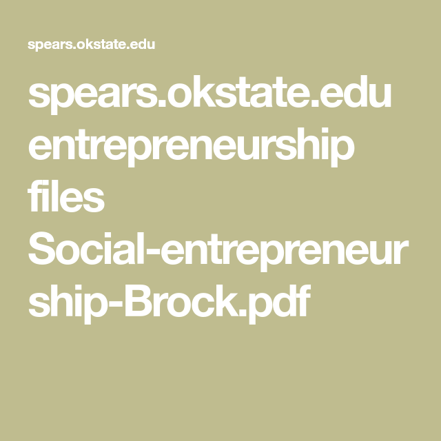 spears okstate edu entrepreneurship files Social