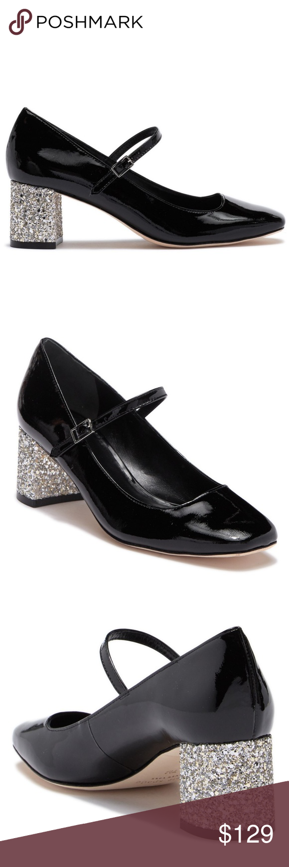 58a86d3c4138 Kate Spade Kornelia Black Patent Glitter Heel Pump Kate Spade New York  Kornelia New In Box