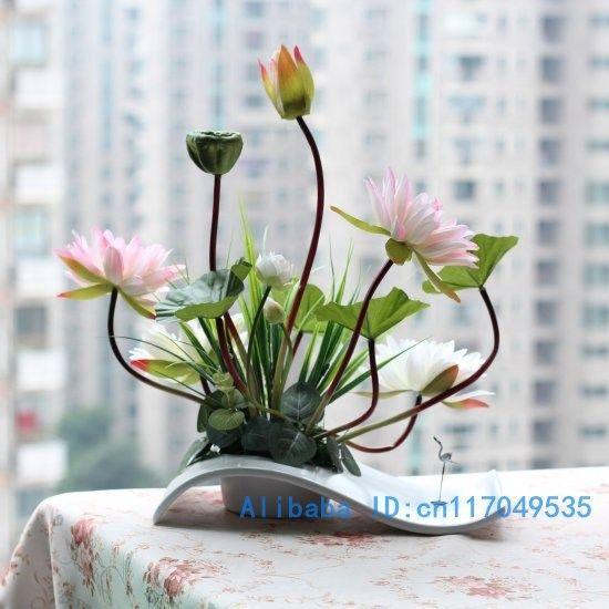 Superior Flower Arrangement Ikebana Arranged Artificial Lotus Flower Silk Flower  Includeu2026 Part 24