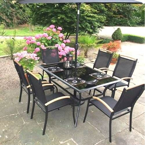 blackline six seater aluminium garden furniture set - Garden Furniture 6 Seater