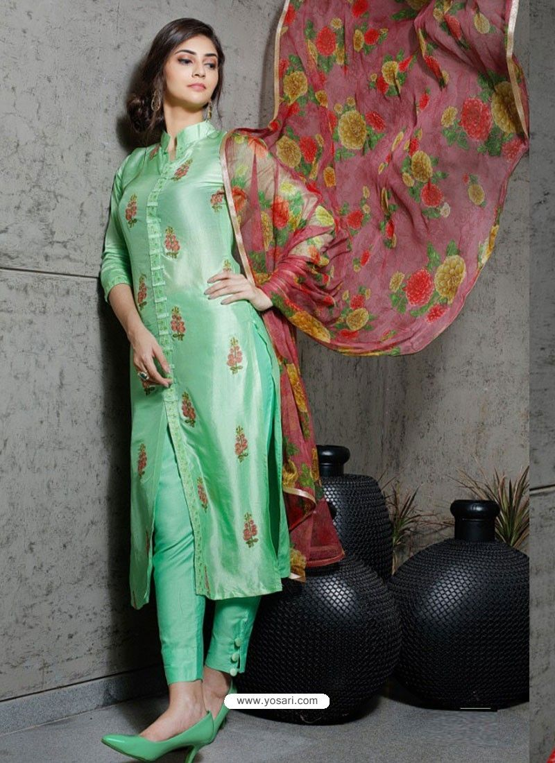 5281259117 Sea Green Pure Silk Designer Embroidered Straight Suit in 2019 ...