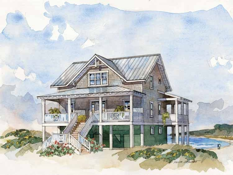 Low country house plan with 2105 square feet and 4 for Low country house plan