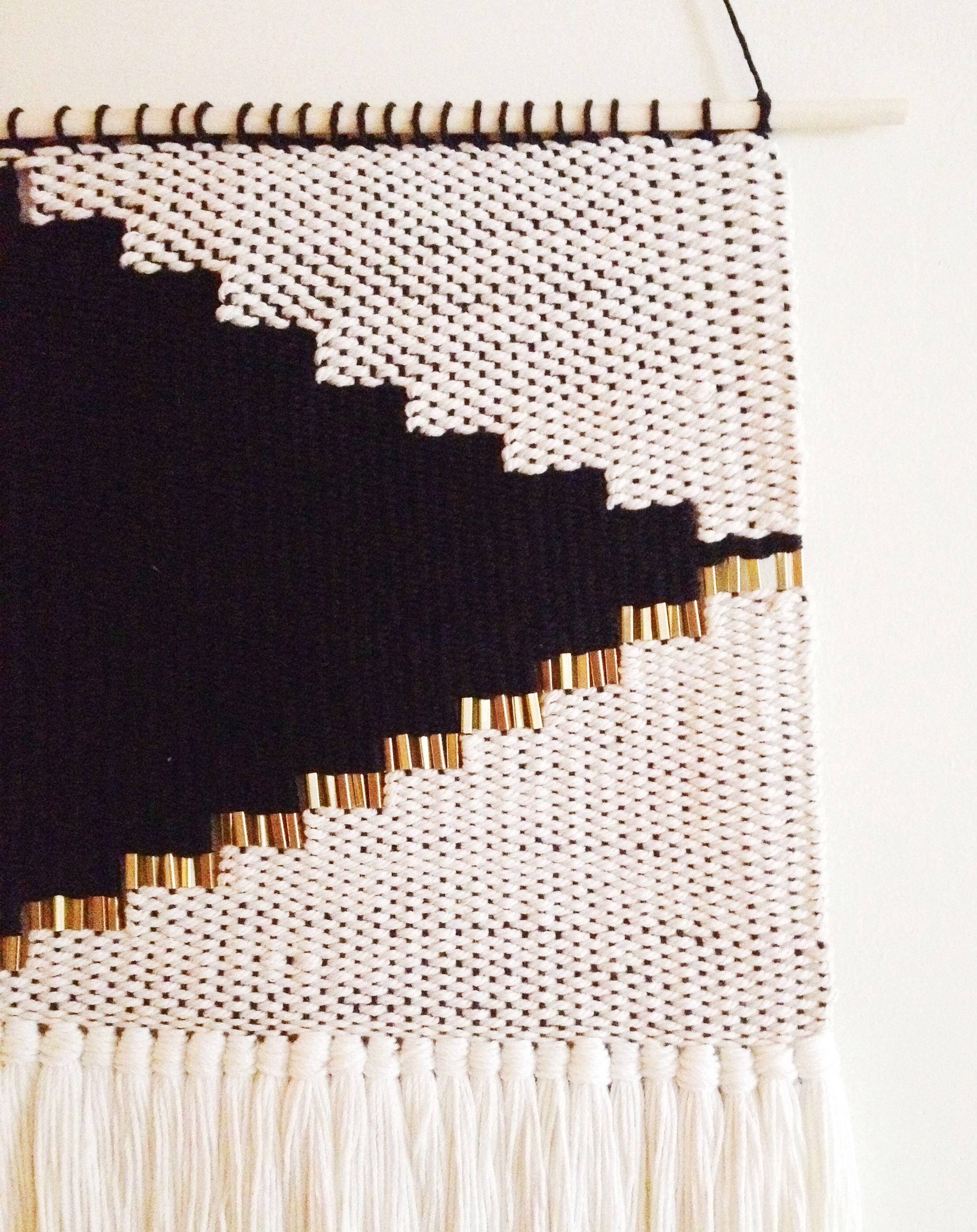 Detail onyx no2 weaving modern tapestry by hazel hunter diy pinterest weben - Wandbehang modern ...