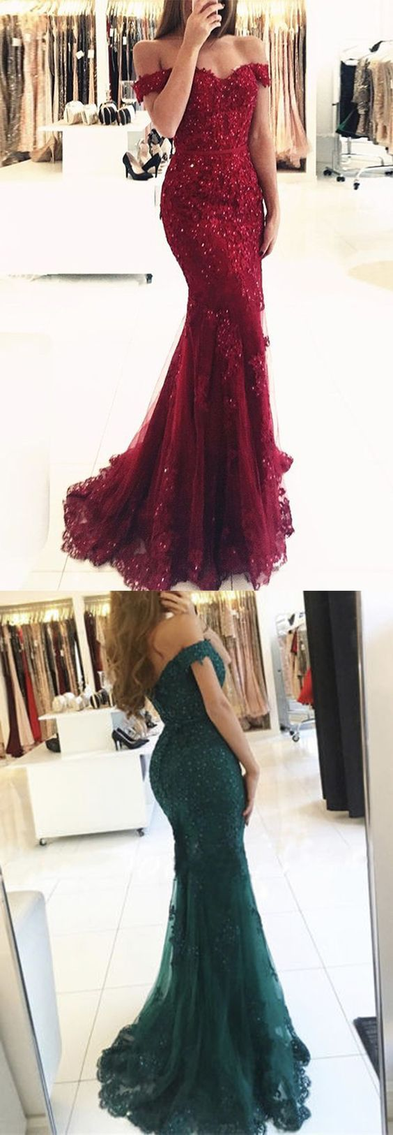 Off shoulder dark red lace beaded evening mermaid prom dresses long