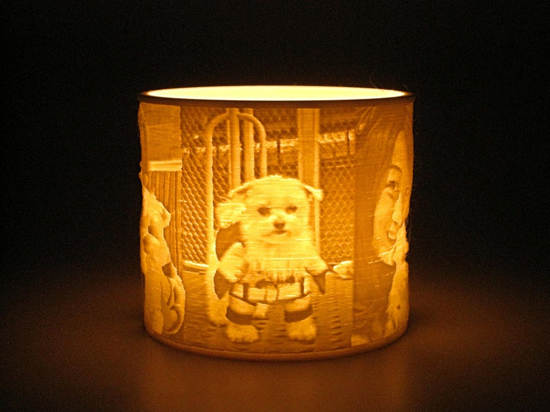 Custom Pet Photo Candle Led Tealight Holder Lithophane Lamp Night Light Flameless Candle 3d Printed Personalized Pet Owner Lover Gifts Photo Candles Tea Lights Tea Light Holder