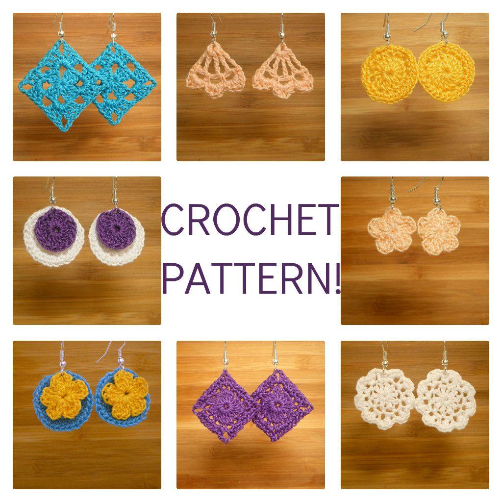 """Crocheted Earrings PDF Pattern """"Dainty Dangles"""". $2.50, via Etsy."""