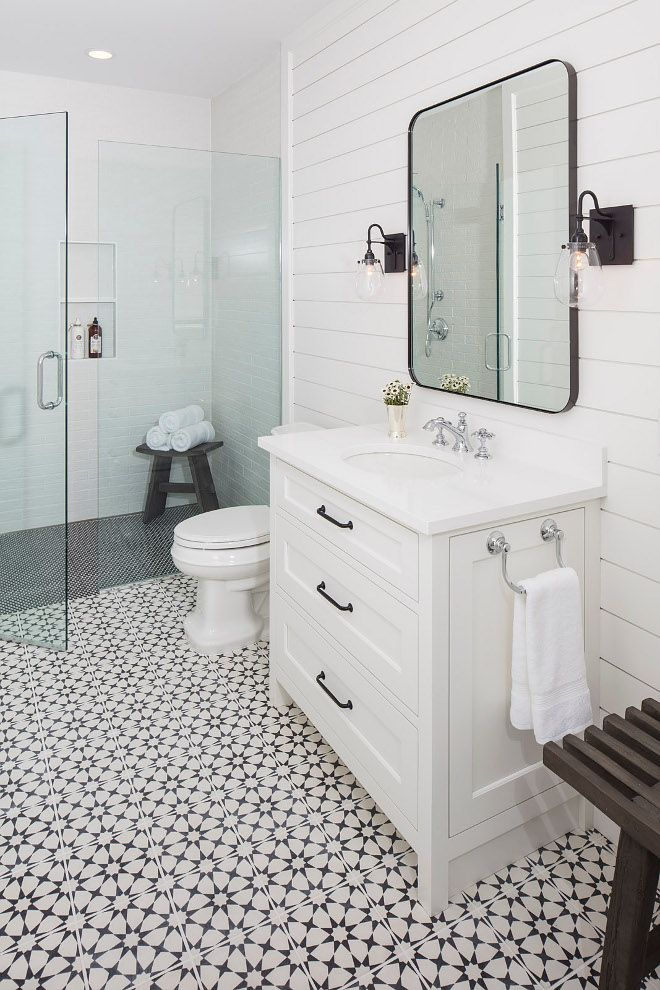 Farmhouse Bathroom With Shiplap Accent Wall And Black White Cement Tile
