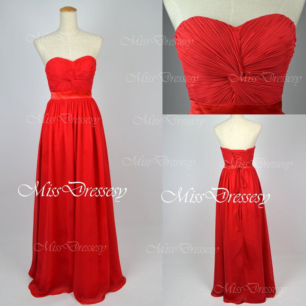 Red prom dresses formal dresses strapless by missdressesy on etsy