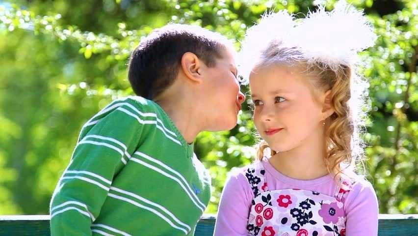 Little Boy Is Kissing Pretty Girl Closeup Portrait Cute Couple On