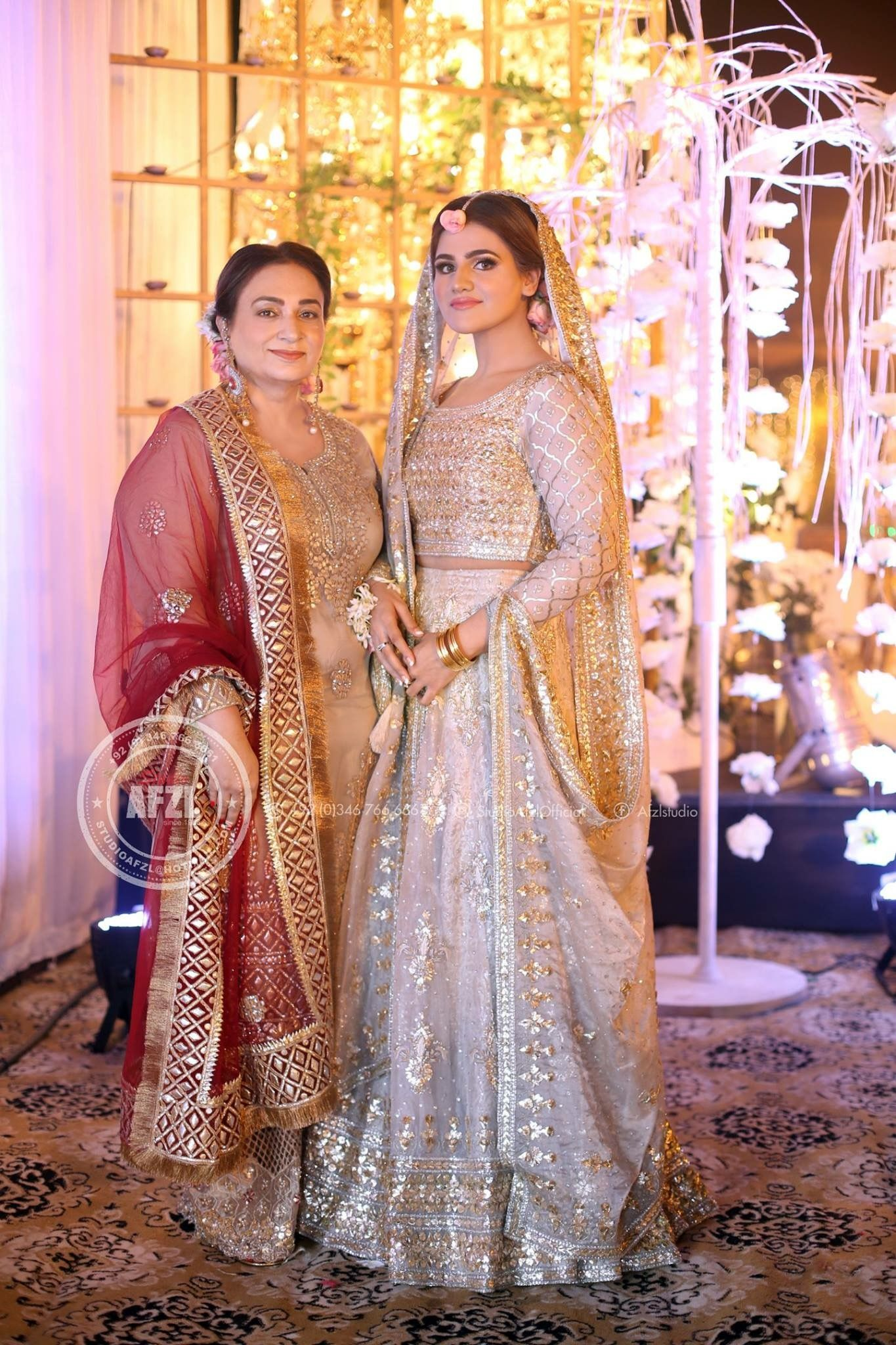 Bride With Her Mother At Her Milad Indian Wedding Outfit Pakistani Bridal Dresses Bridal Outfits