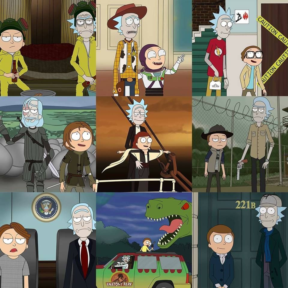 Rick and Morty ; breaking bad , titanic , jurassic park ...