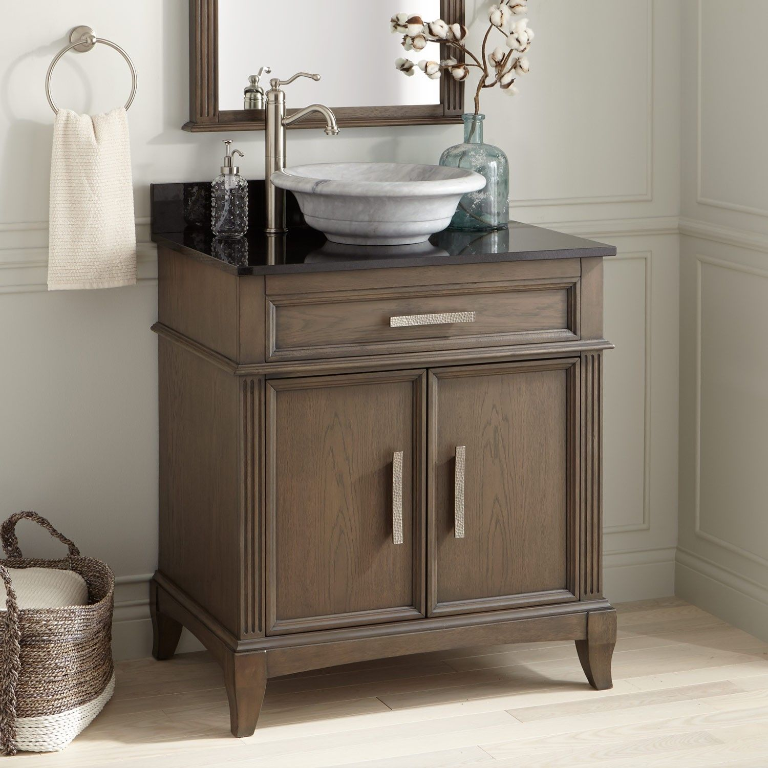 """30"""" livia vessel sink vanity  gray with images  simple"""