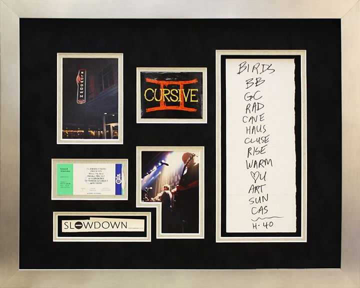 Custom Framed Cursive Set List In Frame With Wristband And Tickets