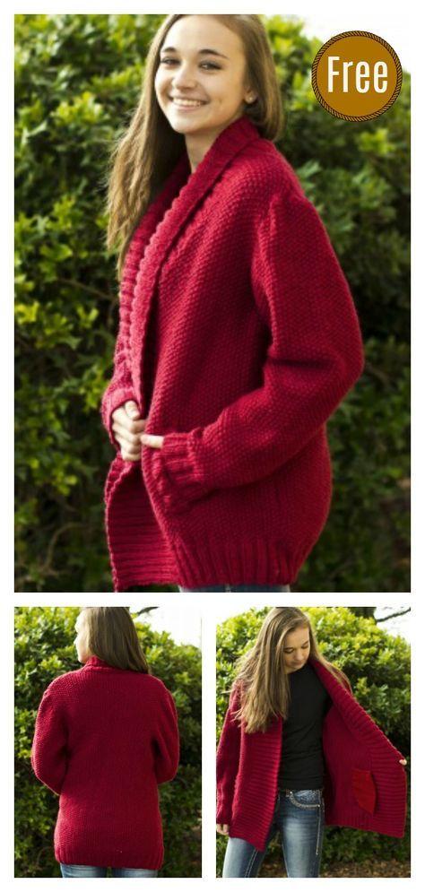 Cozy Collar Jacket Free Knitting Pattern   Knitting ...