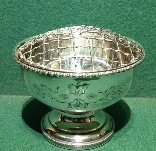 Hand Engraved Silver Plated Rose Bowl Flower Vase Urn Made In