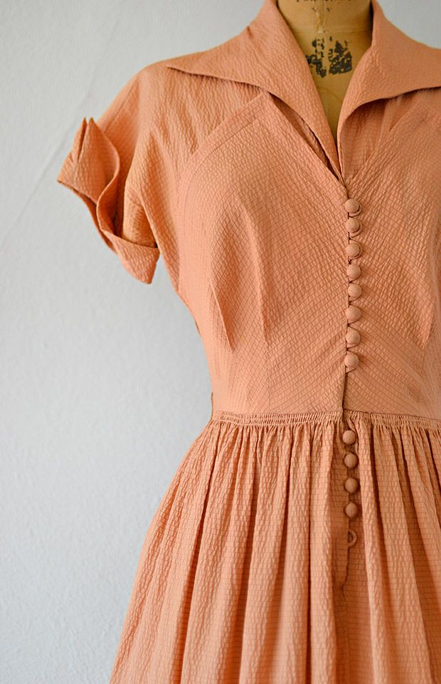 1940s Style Dresses Fashion Clothing: Vintage 1940s Silk Dark Peach Shirt Dress