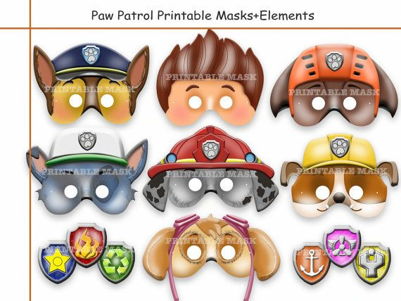 Unique Paw Patrol Printable Masks+Free Elements, birthday, paper - face masks templates