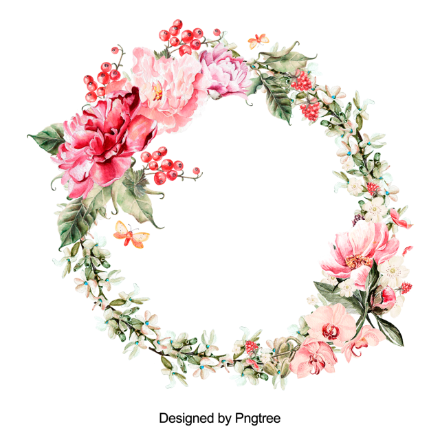 Flower Wreath Red Burgundy Blooming Pink Beautiful Frame Label Plant Botanical Spring I Floral Wreath Drawing Watercolor Flower Wreath Floral Wreath Watercolor