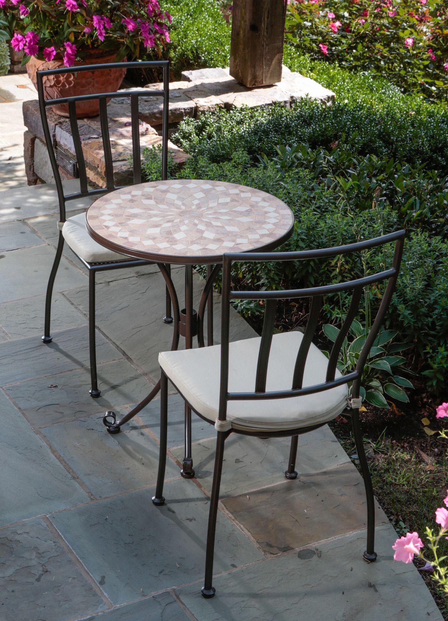 Cilento Mosaic Bistro Set | Bistro set, Patio dining set ... on Belham Living Wrought Iron Bar Height Bistro Set By Woodard id=51163