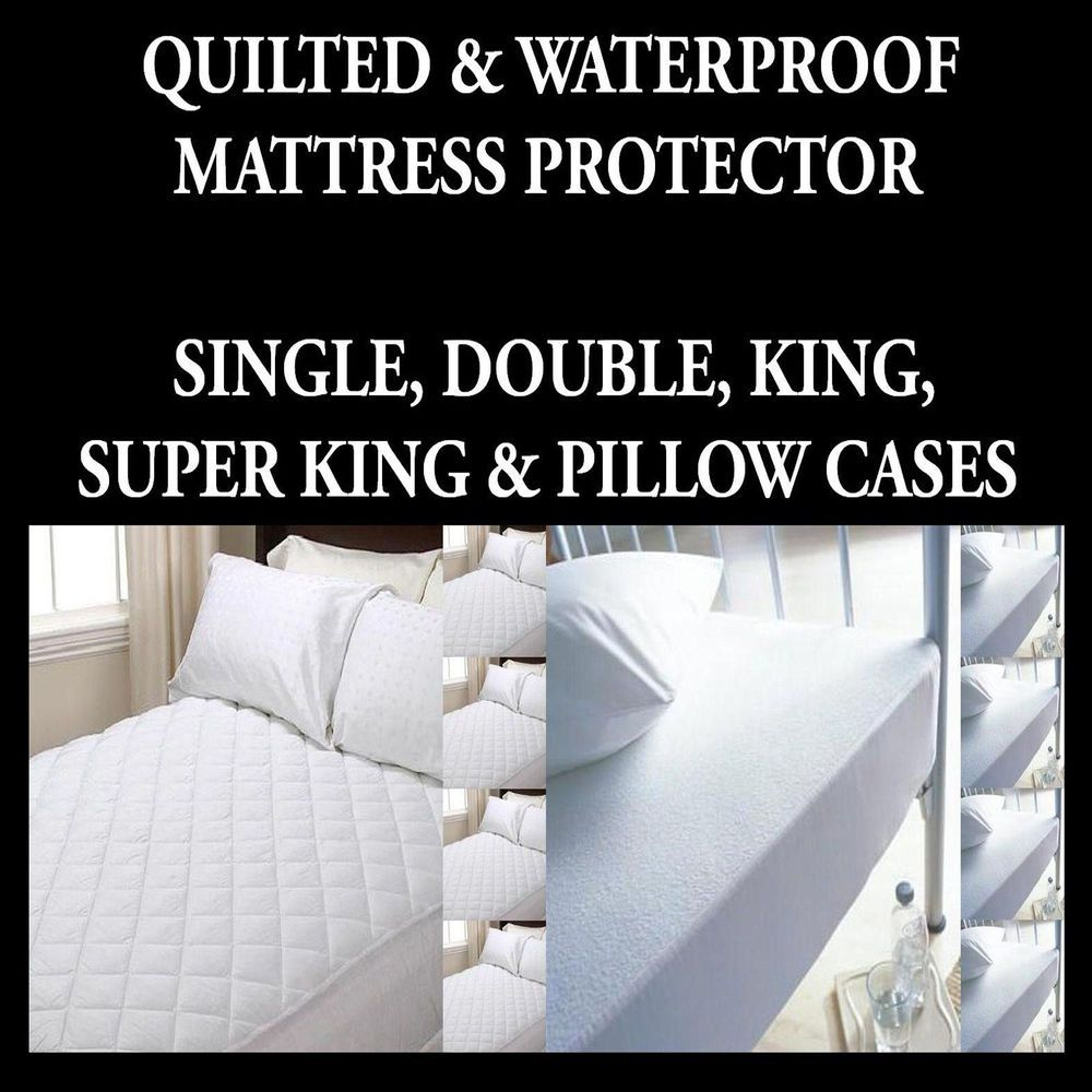 DOUBLE WATERPROOF MATTRESS PROTECTORS SINGLE KING /& SUPER KING SIZES