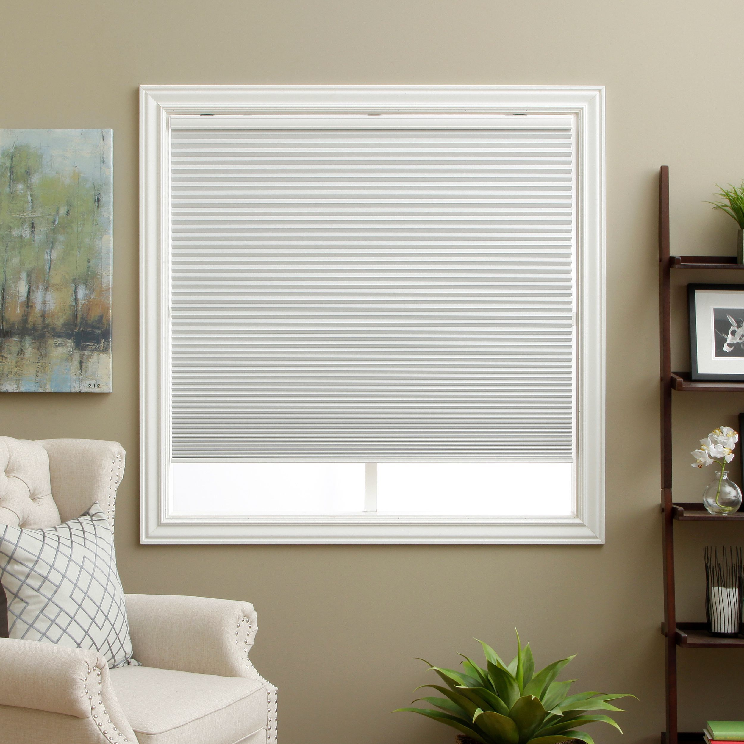 Keep your room completely dark with these white cellular for Shades for bedroom windows