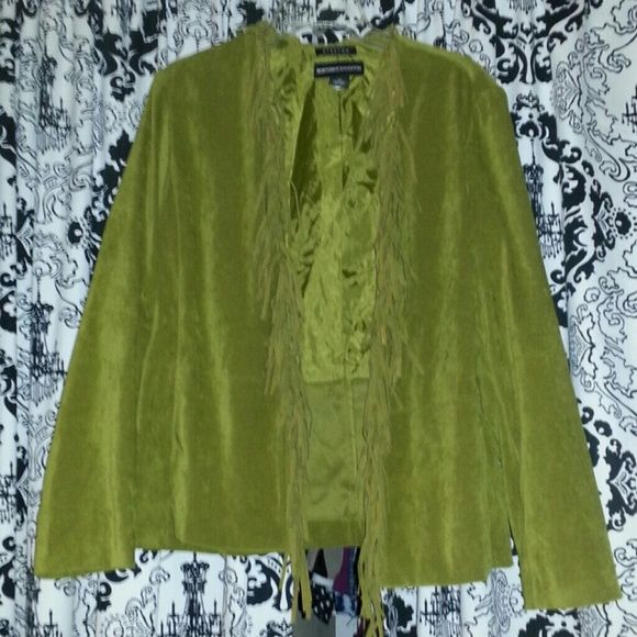 Suede Fringed Jacket Bought to wear with my fringed boots but it is too big. In great condition. It is stretchy.Cute for the boho chic look or boho hippie look. The second picture is for style inspiration. norton mcnaughton Jackets & Coats