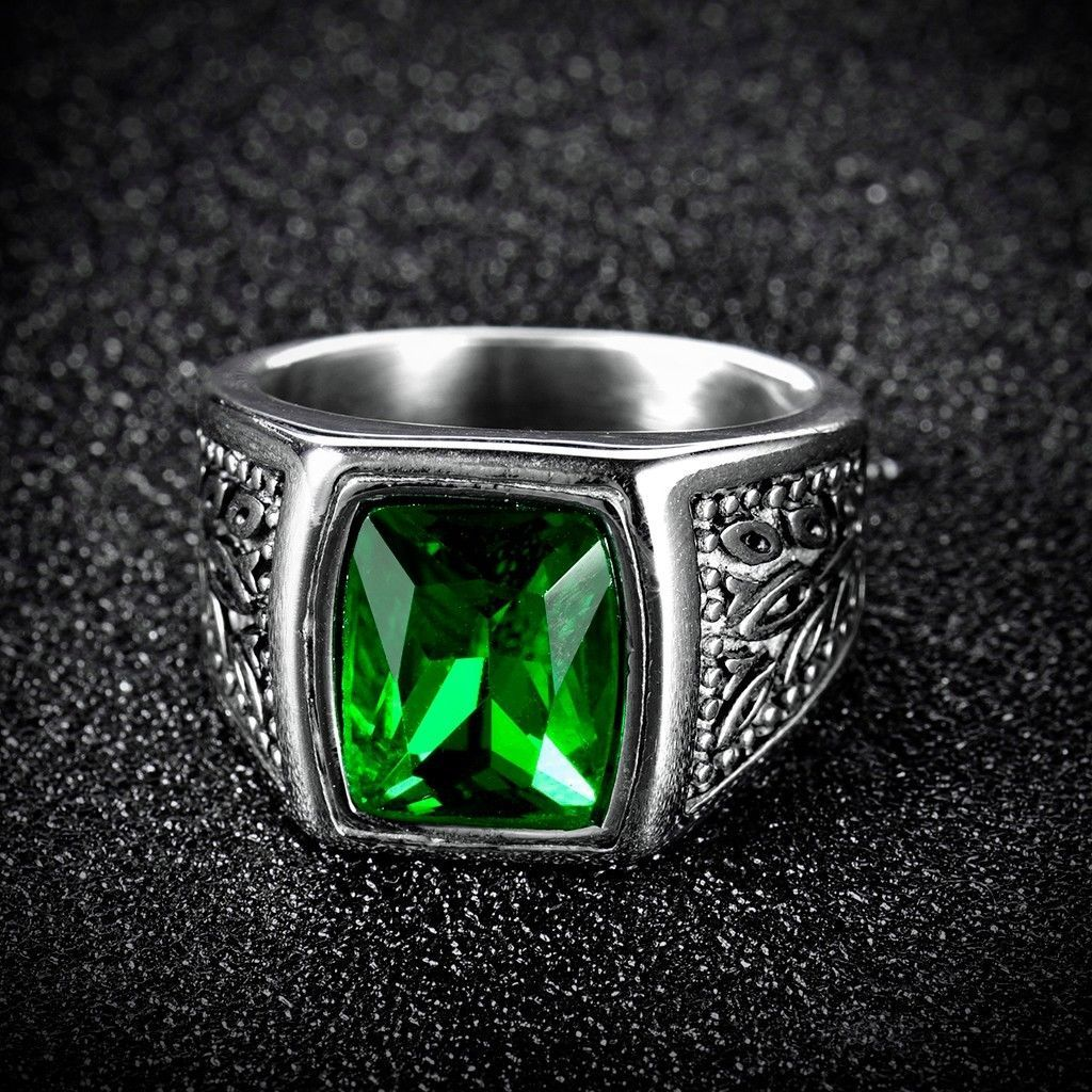 Mens green square emerald silver stainless steel