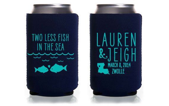 Custom Wedding Koozie Two Less Fish In The Sea By Paperleigh 105 00