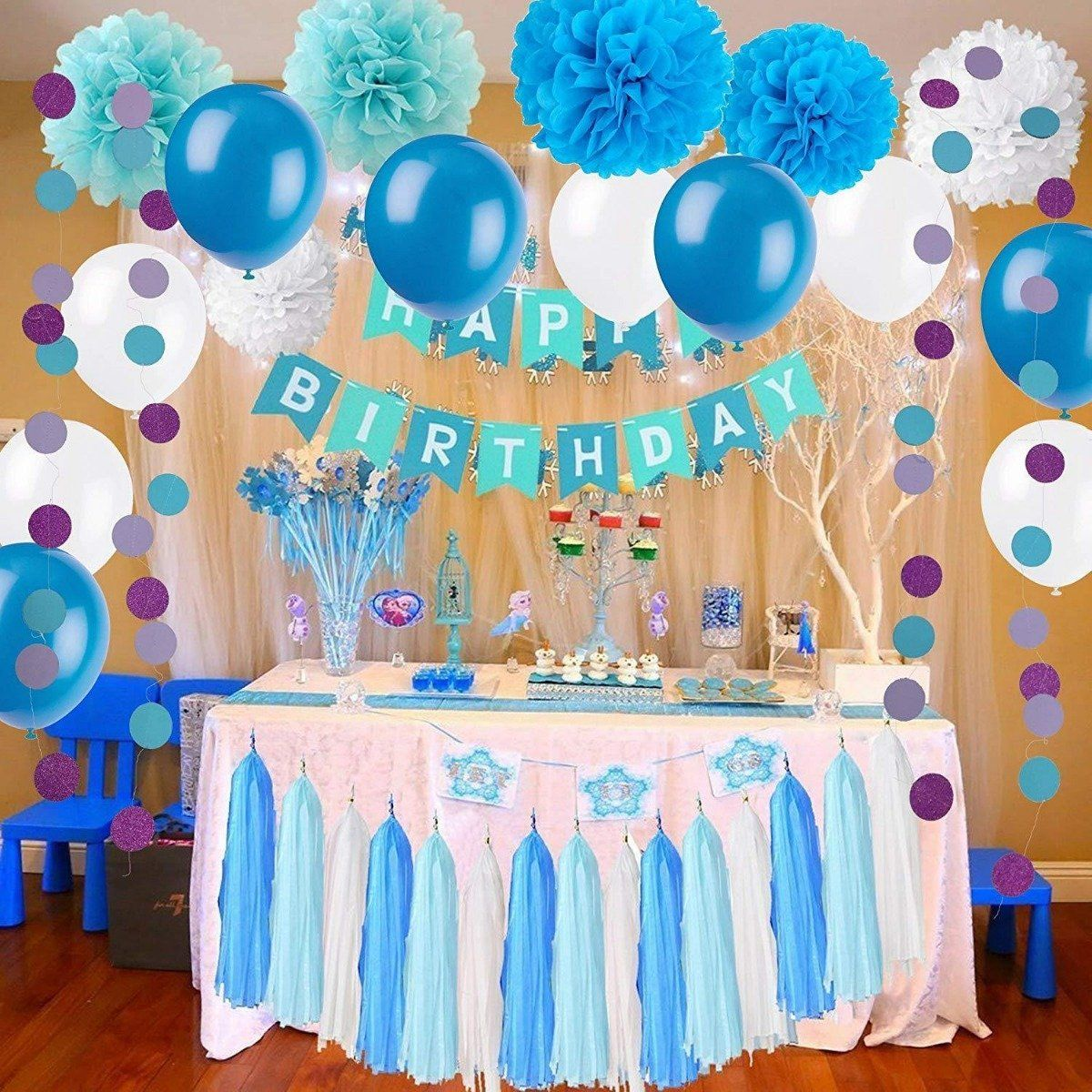 Blue White Pom Poms Party Decoration kit, Happy Birthday Bunting Banner Party Decoration