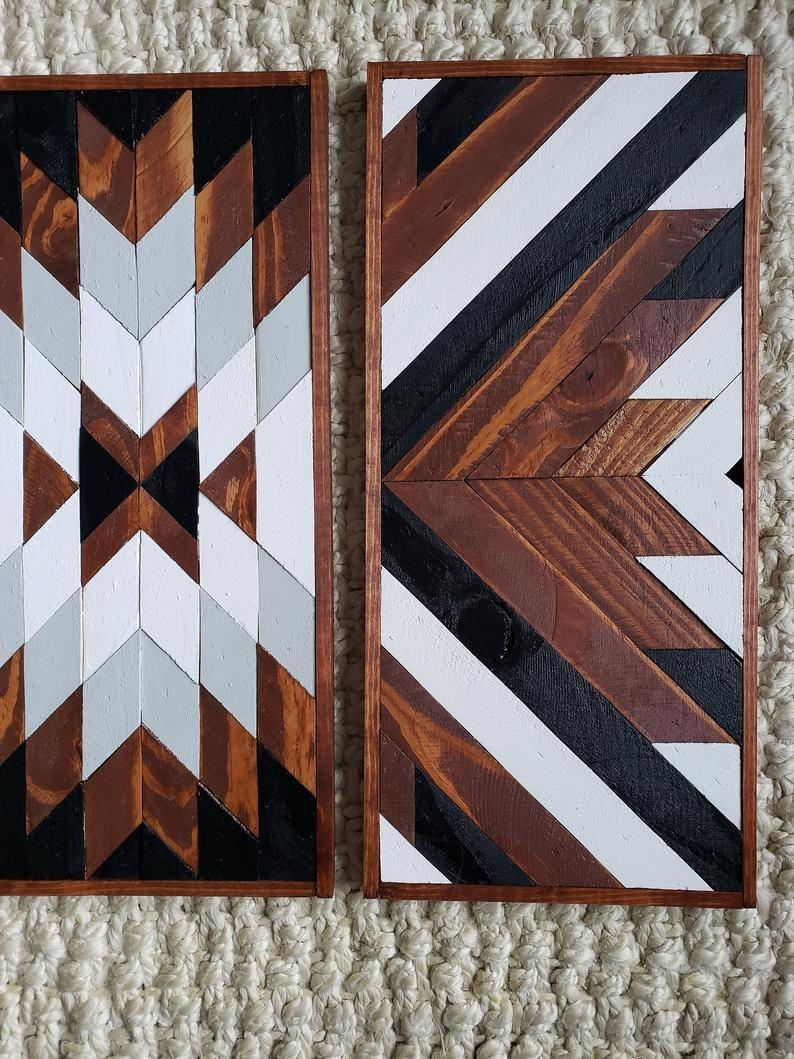 Antonio set of 3 reclaimed wood art geometric wood