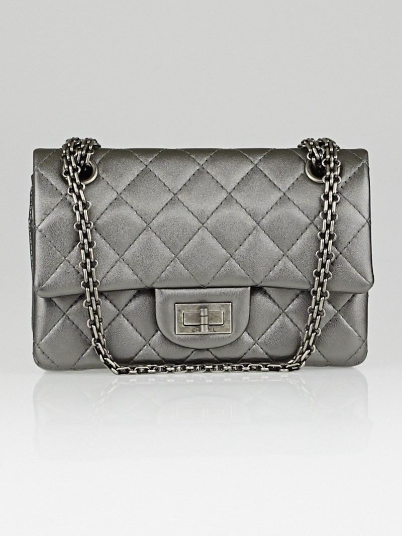 32c730f439a2 Chanel Dark Silver 2.55 Reissue Quilted Classic Leather 224 Flap Bag -  Designers - 10078785