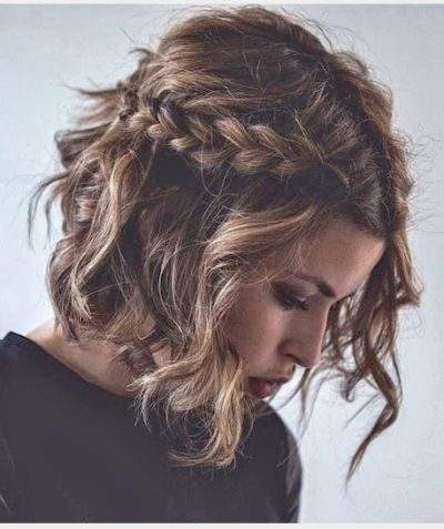 Romantic Half Up Do Wavy Braided Bob Hairstyle Short Hair Styles Curly Hair Styles Hair Styles
