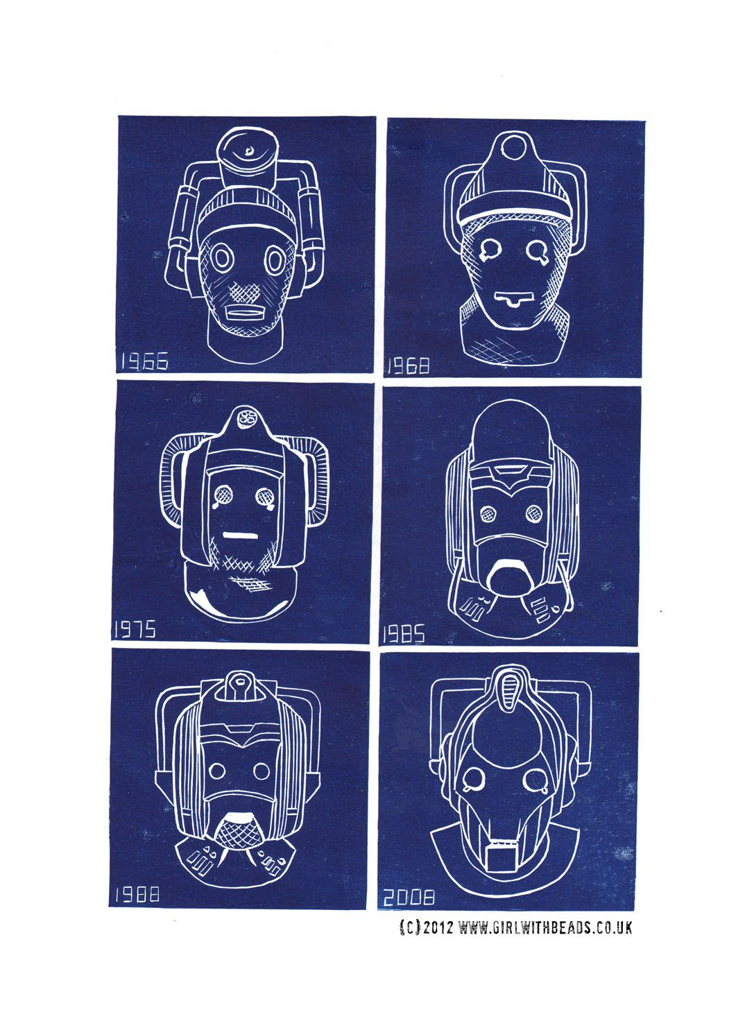 Doctor Who - Evolution of the Cybermen - original hand printed linocut
