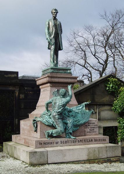 The Emancipation Monument by George Bissel, 1893, Old Calton Cemetary. In commemoration of Scots-American soldiers that fell in the American Civil War - a freed slave giving thanks to Abraham Lincoln - the only such memorial outside the USA.